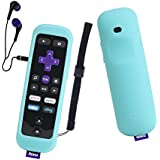 Roku Gaming Remote Case SIKAI Shockproof Protective Case For Roku 3 (4230 and 4200) Roku 2 (4210) RC54R Enhanced Remote Anti-Slip Washable Dust-Proof Anti-Lost With Hand Strap (Luminous Blue)