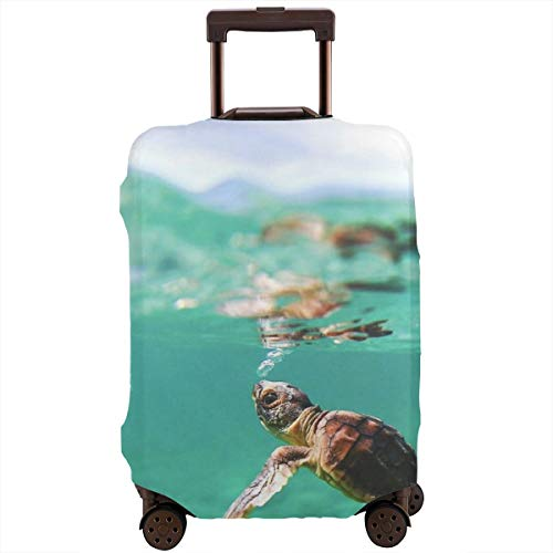 Baby Turtle Under Sea Ocean Turquoise Green Zipper Travel Luggage Suitcase Protector Baggage Protector Anti-theft Luggage Case Waterproof Protective Cover Fits 18-28 Inch Suitcase