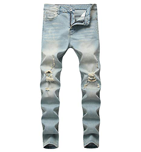 Boy's Light Blue Skinny Fit Ripped Destroyed Distressed Stretch Slim Jeans Pants 16