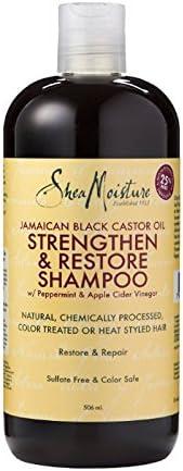 SHEA MOISTURE - Aceite de ricino negro jamaicano Strenghten & Restaurar Shanmpoo - Hecho con ingredientes de origen natural -Aclara y nutre para promover el crecimiento del cabello- 482 ml: Amazon.es: Belleza