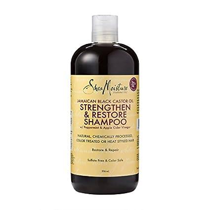 SHEA MOISTURE - Aceite de ricino negro jamaicano Strenghten & Restaurar Shanmpoo - Hecho con ingredientes de origen natural -Aclara y nutre para ...