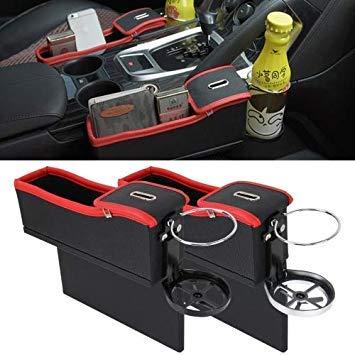 Uniqus 2 PCS Car Seat Crevice Storage Box with Interval Cup Drink Holder Organizer Auto Gap Pocket Stowing Tidying for Phone Pad Card Coin Case Accessories