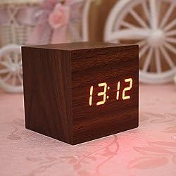 Modern Cube LED Alarm Clock Temperature Sounds Control Display Novelty Electronic Desktop Digital Classic Wooden Table Clocks iG-89