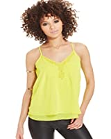 XOXO Juniors' Tiered Embroidered Camisole Yellow XL