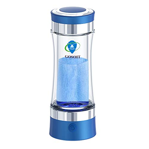 GOSOIT Hydrogen Alkaline Water Bottle Machine Maker Hydrogen Water Generator Ionizer with SPE and PEM Technology,US Membrane Make Hydrogen Content up to 800-1200 PPb and PH of 7.5-9.0 (Blue)