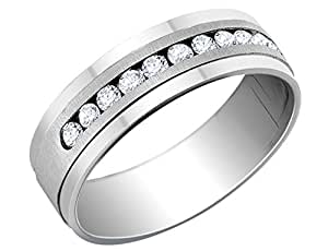 Mens Diamond Wedding Band 1/2 Carat (ctw) in 14K White Gold
