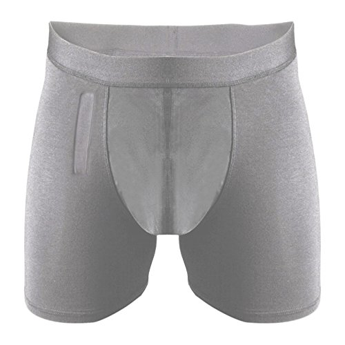 Mens Incontinence Underwear Brief with Fly-Grey-M-Moderate