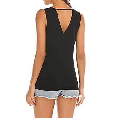 Poetsky Womens Backless Tank Tops Sleeveless Keyhole Blouse Sexy Summer Tshirt: Clothing