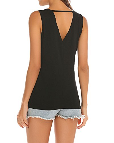 Poetsky Womens Sleeveless Workout Shirt Open Back Long Tunic Tops (S, Black) by Poetsky (Image #7)