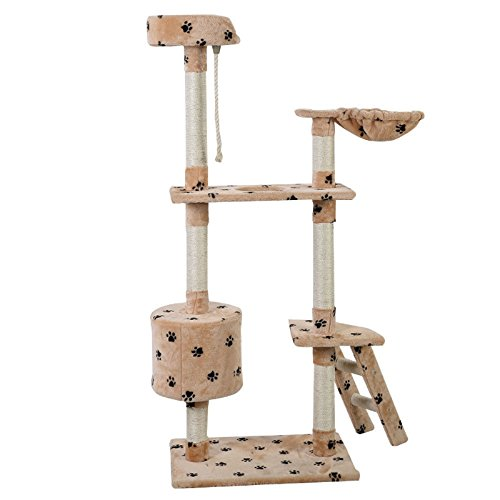 New 60 cat tree tower condo scratcher furniture kitten pet house hammock beige paw price - Cat hammock scratcher ...
