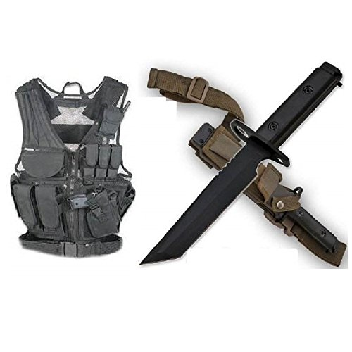 lack Vest Right Handed Pistol Holster + Shadow Ops AR-15 or M-16 Rifle Military M9 M1 Survival Blade Bayonet & Sheath Full Tang Blade 1/4