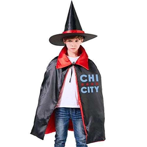 Children Chicago City Halloween Party Costumes Wizard Hat Cape Cloak Pointed Cap Grils Boys