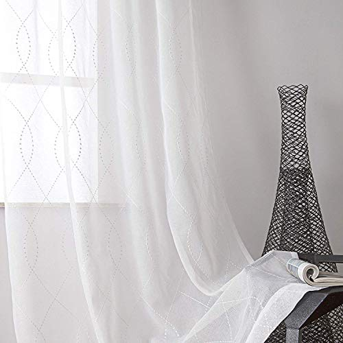 VISIONTEX White Sheer Curtains White Dots Embroidery Faux Linen Rod Pocket Curtains for Living Room 54 x 84 Inch, Set of 2 Curtain -