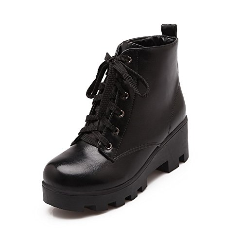 AmoonyFashion Womens Lace-up Round Closed Toe Kitten-Heels PU Low-top Boots Black ReDDJ2Aq