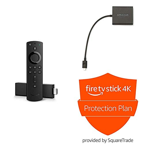 Fire TV Stick 4K with all-new Alexa Voice Remote bundle – includes Ethernet Adapter and 2-Year Protection Plan