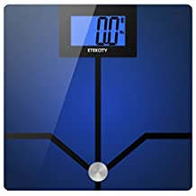 Etekcity Bluetooth Bathroom Body Fat Scale, Smart Weight BMI Body Composition Monitor Scale with BIA Technology, 4.3 inch Large Backlit Display, Compatible for IOS/Android App, 400 lbs /180kg Capacity, Blue