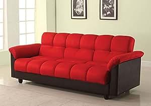 1perfectchoice Achava Living Room Adjustable Sofa Bed Sleeper Storage Futon Red