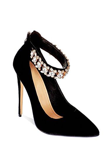 Secret Womens High Heel Ankle Strap Diamante Sandals Ladies Party Shoes 3-8 Black