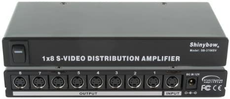 Shinybow 1x8 (1:8) 8-Way S-Video (Y/C) Video Splitter Distribution Amplifier SB-3706SV