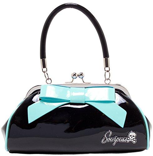 Sourpuss Floozy Purse Black With Blue Bow