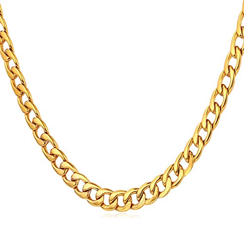 U7 18K Gold Plated 5MM Wide Cuban Curb Chain Necklace (18 Inches)