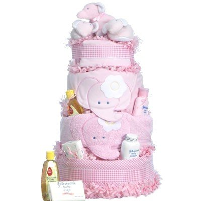 Four Layer Pink Elephant Baby Shower Cake for Girls