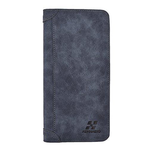 Mens Vintage Leather Wallet Long Slim Bifold Wallets For Men and Boy Card Holder
