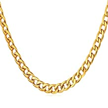 "U7 Stainless Steel Curb Chain Necklace 5MM (18""-30"")"