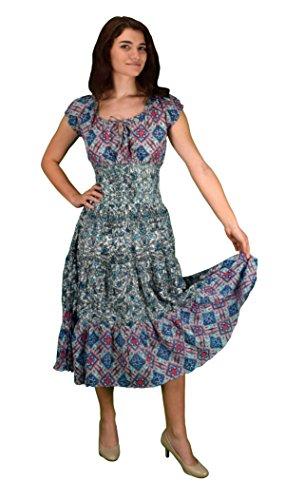 [Peach Couture Gypsy Boho Cap Sleeves Smocked Waist Tiered Renaissance Maxi Dress Geometric Blue White,] (Renaissance Style Dress)