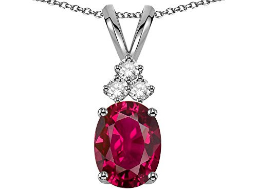 Star K Oval 8x6 mm Created Ruby Rabbit Ear Pendant Necklace 14 kt White (Oval Ruby Slide)