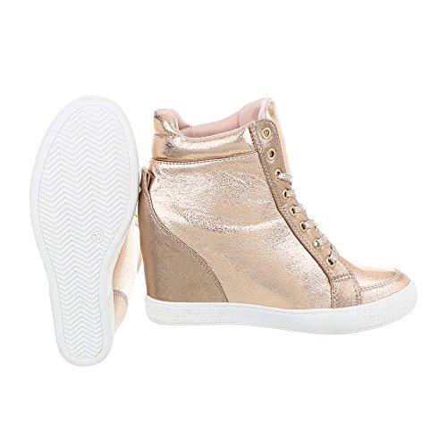Freizeitschuhe Design Reißverschluss 72 Keilabsatz Damenschuhe Wedge LL Sneakers High Ital Sneakers Keilabsatz Gold High 6dvqczw