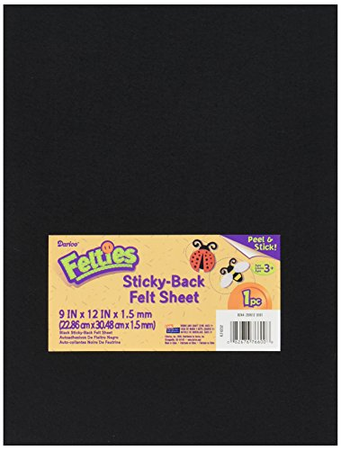 Darice 9 by 12 inch, Adhesive Back Felties Felt Sheet, Black, 1 (9