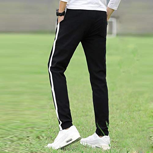 Allywit Men Solid Cotton Straight Pocket Elastic Drawstring Trousers Long Pants Plus Size by Allywit-Pants (Image #4)