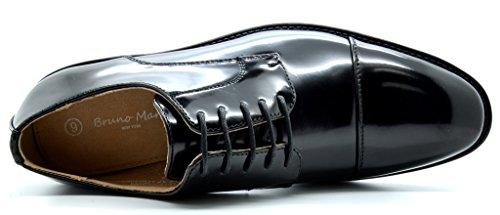 Bruno Marc London Mens Classico Moderno Oxford A Punta Tonda Comfort Fibbia Pizzo Abito Casual Scarpe 5-nero