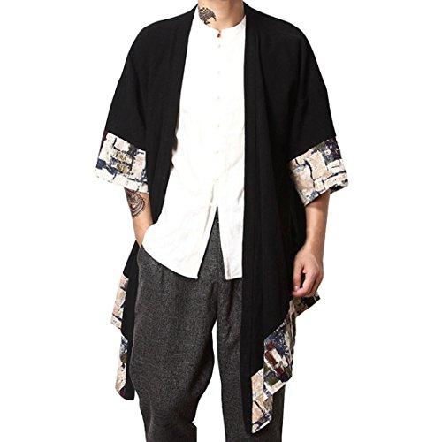 Hzcx Fashion Men's Cotton Linen Blends Vintage Cloak Open Front Coat QT4021-F003-85-US L TAG 3XL ()
