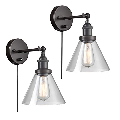 AXILAND Industrial Antique Plug in Wall Sconce Clear Glass W