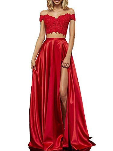 8bcf227673cb Lace Satin Prom Dresses with Slit Long Two Piece Off Shoulder Formal  Evening Gown for Juniors