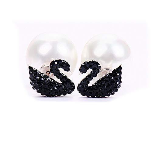creatspaceFR cygne noir swan boucles doreilles goutte dor Simple g/én/éreux /à la mode personnalit/é femmes cadeau danniversaire couleur argent