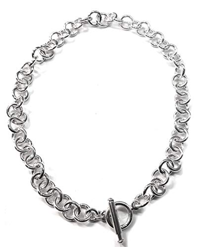 Tiffany Style Link Chain Necklace w/Toggle Clasp-Sliding Bar in Sterling