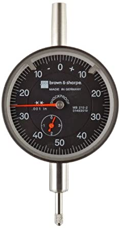 "Brown & Sharpe Dial Indicator, Inch, 4.0-48 Thread, 0.374"" Stem Diameter"