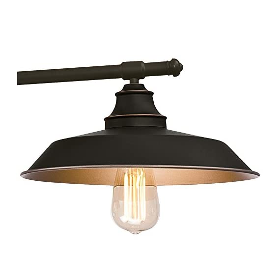 Westinghouse Lighting 6332500 Iron Hill Three-Light Indoor Island Pulley Pendant, Oil Rubbed Finish with Highlights and Metallic Bronze Interior, 3 - Three-light indoor island Pendant with vintage-industrial details adds unique appeal 31-15/16 inches in height, 39-15/16 inches in Width, 12 inches in depth, 58-15/16 inches maximum hanging length, 31-15/16 inches minimum hanging length Uses three 60-watt medium-base light bulbs (not included), for a vintage appeal use Westinghouse filament LED light bulbs. Recommended Uses- Impressive down lighting for over a kitchen island, breakfast bar, pool table or dining room. Ideal for a range of architectural home styles and decor's, including art deco, arts & crafts, bungalow, craftsman, and modern - kitchen-dining-room-decor, kitchen-dining-room, chandeliers-lighting - 41Kj0tYdi5L. SS570  -