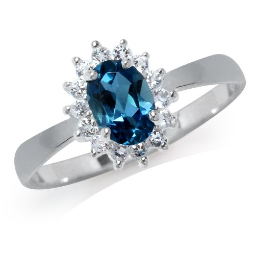 (Genuine London Blue & White Topaz 925 Sterling Silver Flower Cluster Ring Size 6)