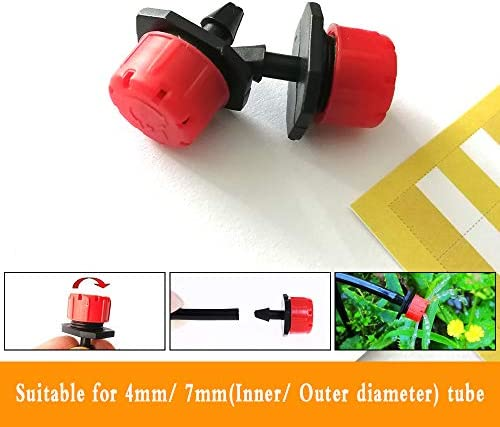 Herbs Gardens. Lawn Vegetable Gardens QMOEH 100 pcs 1//4 Inch Adjustable Irrigation Drippers Sprinklers Micro Emitter Drip Anti-Clogging Watering System for Flower beds