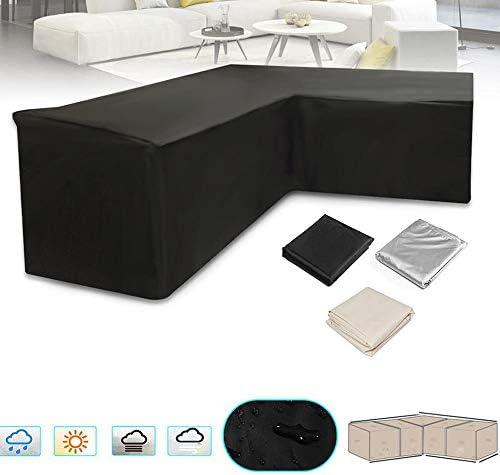 ガーデンテーブル カバー 防水カバーダストカバーオックスフォード屋外ラタン表保護ガーデンテラスの家具サイドリリースバックル 防水 防塵 多機能 家具カバー (色 : Black, Size : 2.5x1.5x1m)