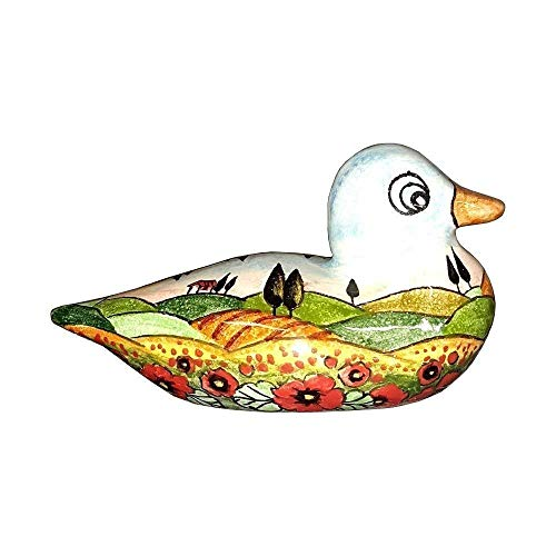 CERAMICHE D'ARTE PARRINI - Italian Ceramic Art Animal Figurine Duck Pottery Hand Painted Decorated Poppies Landscape Made in ITALY Tuscan