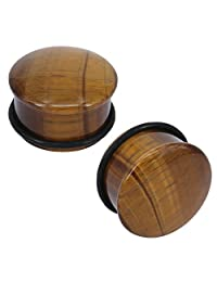 Tiger Eye Natural Stone Brown Ear Plugs Single Flare Ear Gauges Expander with O-Ring Body Piercing
