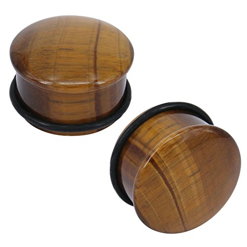 Tiger Eye Natural Stone Brown Ear Plugs Single Flare Ear Gauges Expander with O-Ring Body Piercing (Gauge=9/16