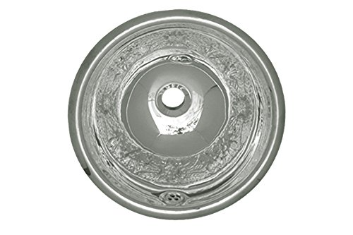 Whitehaus WH602ACF-POSS Round 13 3/4-Inch Floral Pattern Drop-In Basin with Overflow, Polished Stainless Steel