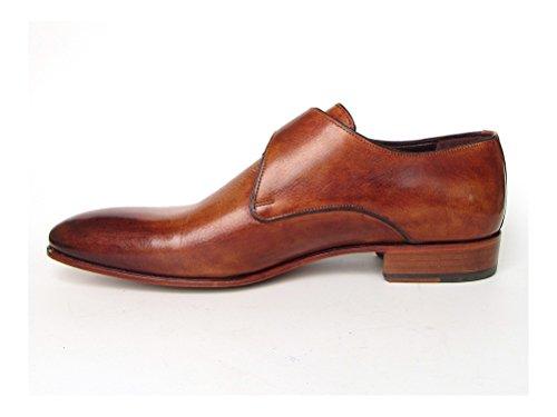 Paul Parkman Men's Monkstrap Shoes Side Handsewn Twisted Leather Sole Tobacco (ID#24Y56) NeGZYxUdQ