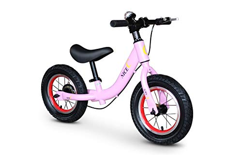 Nice C Balance Bike for 18 Month-3 Years-Girls & Boys-No Pedal with Compass & Bell-Toddler Sport Balance Bike, 12 INCH (Pink) ()